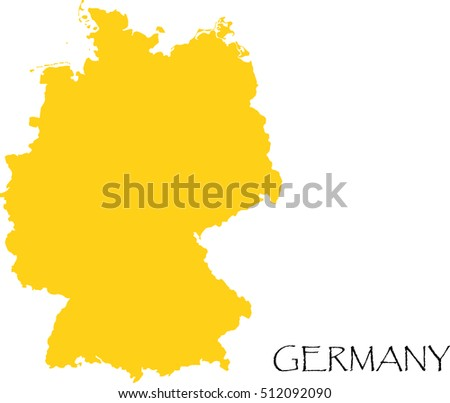 Germany Country Map Outline Graphic Vector Stock Vector - Germany map outline