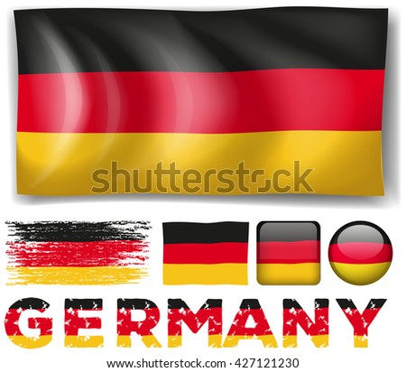 Germany flag in different designs illustration