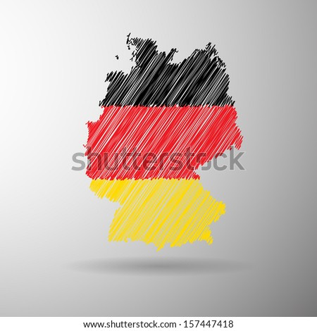 Germany flag map icon sketch in vector format - stock vector