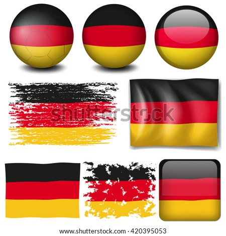 Germany flag on different items illustration