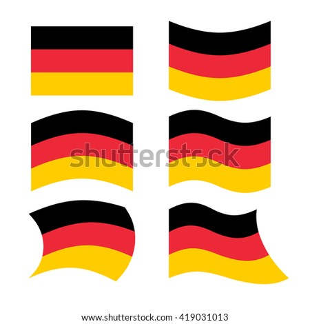 Germany flag. Set of flags of German Republic in various forms. Developing German flag European state