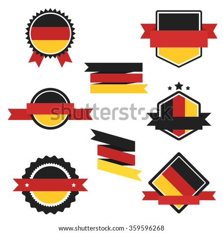 Germany Flag, vector Flag of Germany. Label Flag of Germany. Different shape flag of Germany. Set of Flag Germany. Germany Flag. Ribbon in colors of German flag. Germany style. Germany flag badges. - stock vector