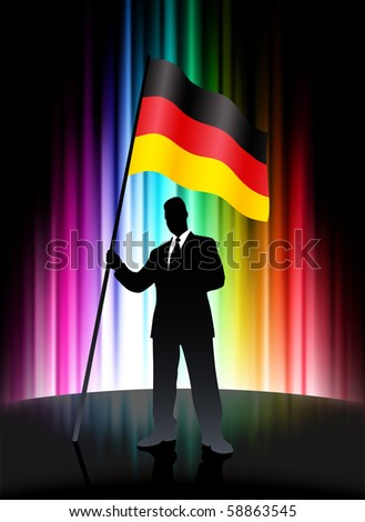 Germany Flag with Businessman on Abstract Spectrum Background Original Illustration - stock vector