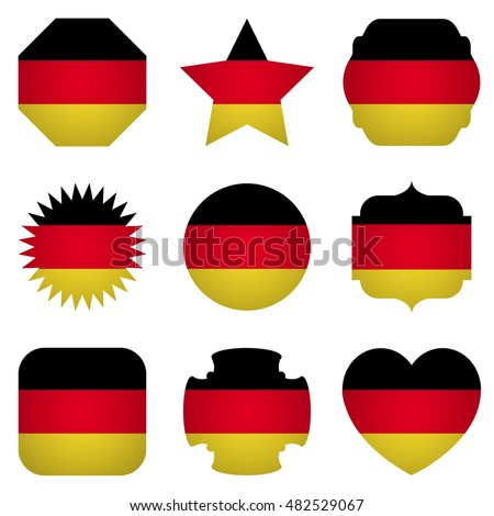 Germany flag with different shapes on a white background