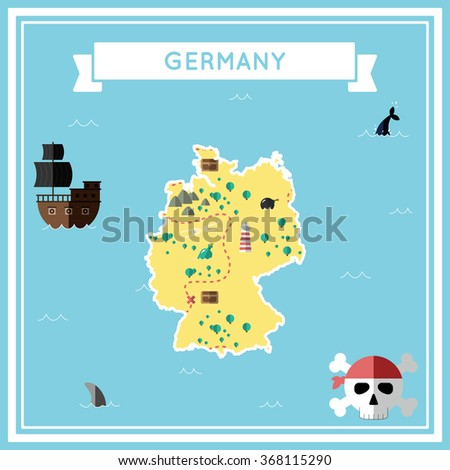 Germany flat treasure map. Colorful cartoon treasure map of Germany with flat icons of pirate ship, jolly roger, treasure chest and banner ribbon. Flat design vector illustration.