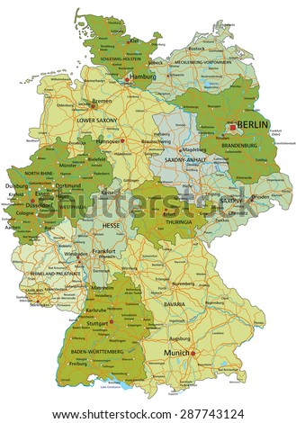 Germany - Highly detailed editable political map with separated layers.