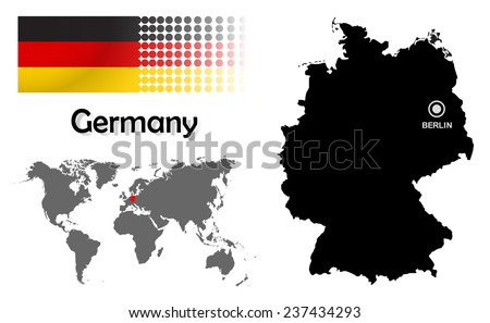Germany info graphic flag location world stock vector 237434293 germany info graphic with flag location in world map map and the capital sciox Gallery