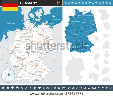 Germany infographic map - illustration Image contains: - land contours - country and land names - city names - water objects - flag - navigation icons - roads - railways - stock vector