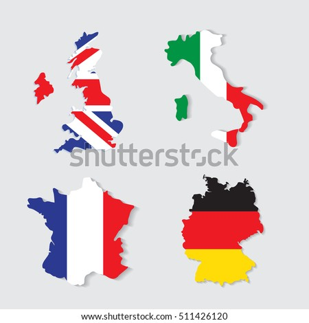 Germany Italy France Uk Colorful Maps Stock Vector - Germany uk map