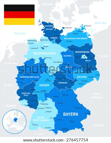 Germany - map and flag - illustration Image contains next layers: - land contours - country and land names - city names - water object names - flag