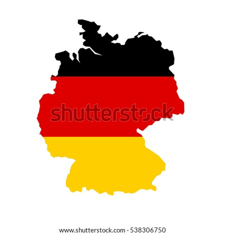 Germany map and flag in white background