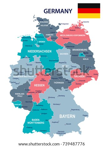 Germany Map Flag Vector Illustration Stock Vector 739487776