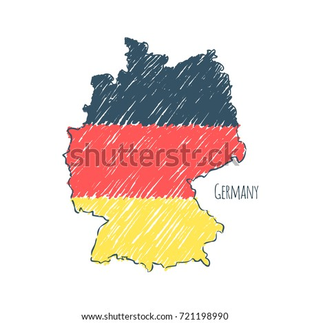 Symbol Poster Banner Germany Map Germany Stock Vector - Germany map drawing