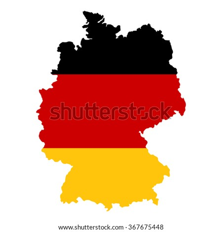 Germany map in colors of the official flag placed on a white background.