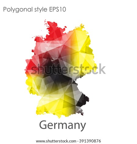 Germany Map Geometric Polygonal Styleabstract Gems Stock Vector - Germany map today