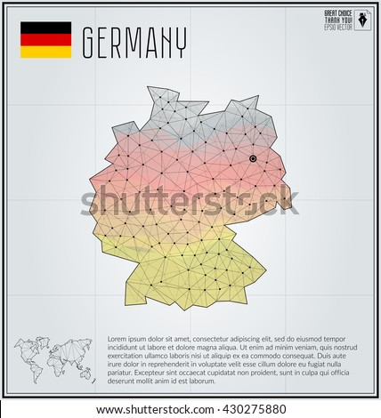 Germany map in geometric polygonal style. Polygonal abstract world map. Vector illustration. Germany flag. Berlin pointer - stock vector