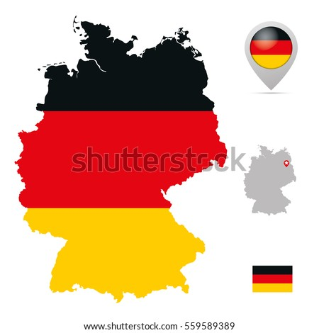 germany map in national flag colors flag marker and location of its capital berlin