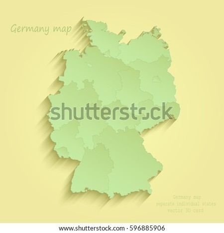 Germany Map Separate Individual States Yellow Stock Vector 2018