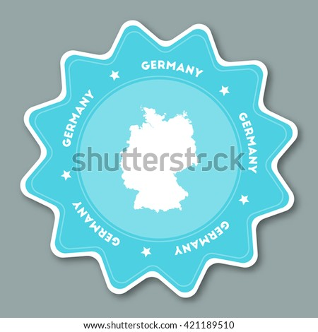 Germany map sticker in trendy colors. Star shaped travel sticker with country name and map. Travel badge vector illustration. - stock vector