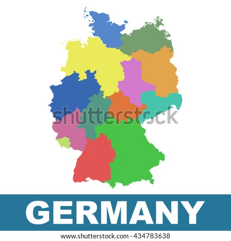 Germany Map Federal States Flat Vector Stock Vector - Germany map federal states