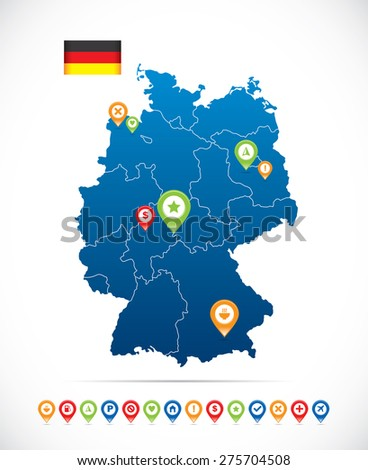 Germany Map with Flag and Navigation Icons - stock vector