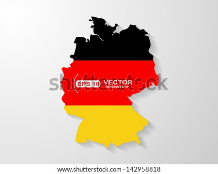 Germany map with shadow effect  - stock vector