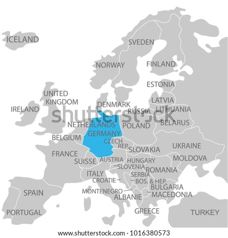 Germany marked by blue grey political stock vector 1016380573 germany marked by blue in grey political map of europe political map of the world gumiabroncs