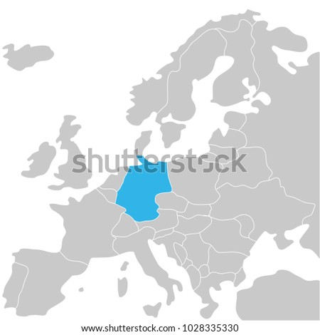 Germany marked by blue grey political stock vector 1028335330 germany marked by blue in grey political map of europe political map of the world gumiabroncs Image collections