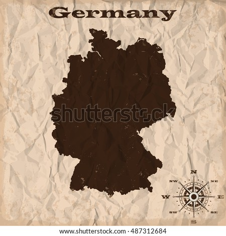 Germany old map with grunge and crumpled paper. Vector illustration