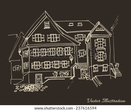 Germany, old town architecture, vintage engraved illustration. Houses with shutters. Hand drawn sketch. - stock vector
