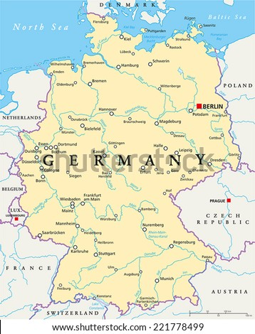 Germany Political Map Capital Berlin National Stock Vector - Germany map of rivers