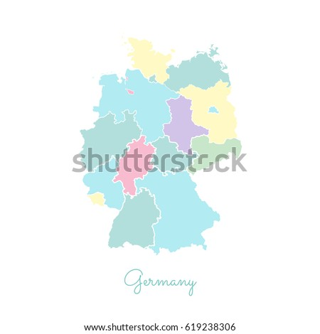 Germany Region Map Colorful White Outline Stock Vector - Germany map regions
