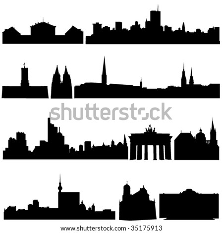 Germany's famous historical buildings and modern architecture. - stock vector