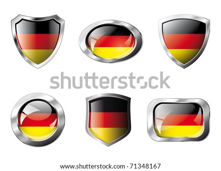 Germany set shiny buttons and shields of flag with metal frame - vector illustration. Isolated abstract object against white background. - stock vector