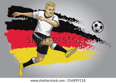 Germany soccer player with flag as a background