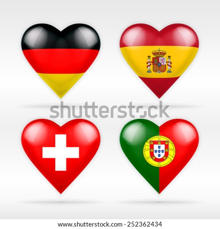 Germany, Spain, Switzerland and Portugal heart flag set of European states as collection of isolated vector state flags icon elements on white - stock vector