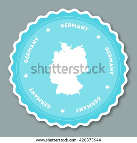 Germany sticker flat design. Round flat style badges of trendy colors with country map and name. Country sticker vector illustration. - stock vector