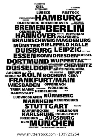 Germany tag cloud of largest cities - stock vector