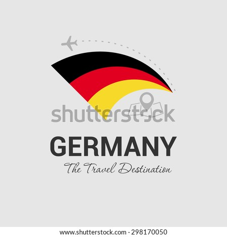 Germany The Travel Destination logo - Vector travel company logo design - Country Flag Travel and Tourism concept t shirt graphics - vector illustration - stock vector