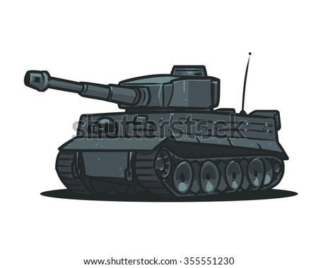 Germany Tiger tank cartoon illustration isolated on white background - stock vector