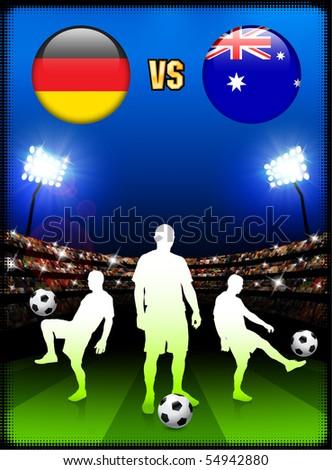 Germany versus Australia on Stadium Event Background Original Illustration - stock vector
