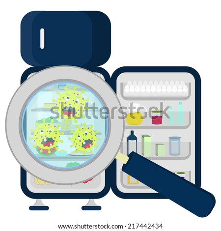 Germs on refrigerator full germs in crowded refrigerator enlarged by
