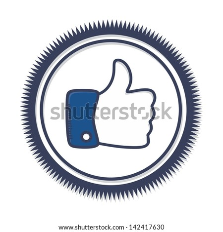 gesture hand like this theme like label - stock vector