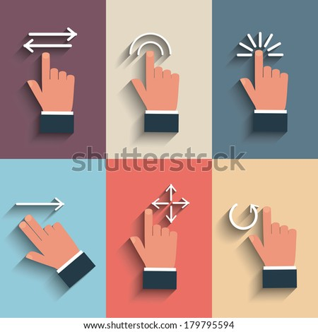 Gesture icons for touch devices - stock vector