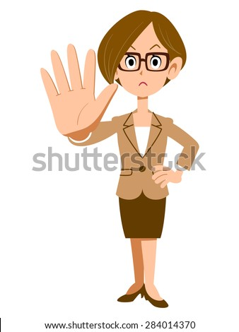 Gesture to stop the women who wear glasses - stock vector