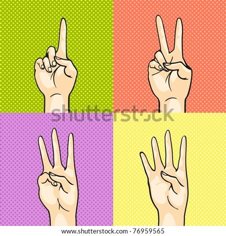 Gesturing hands showing numbers - one, two, three, four - stock vector