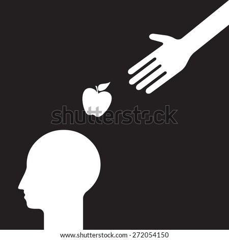 get an idea: hand of providence is dropping an apple on the human head - stock vector
