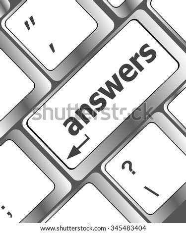 get answers concept on the modern keyboard keys vector illustration