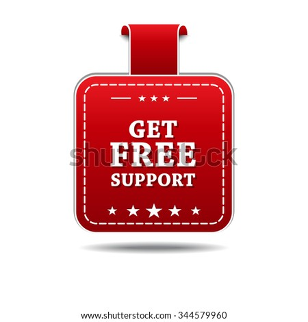 Get Free Support Red Vector Icon Design