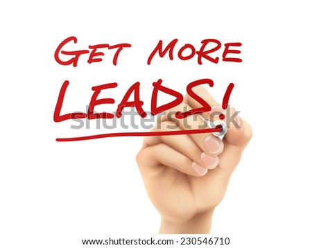 get more leads words written by hand on a transparent board - stock vector